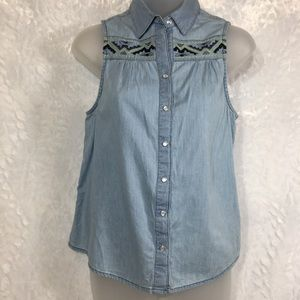 Mudd western cowgirl sleeveless shirt top blouse S